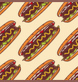 colorful seamless pattern with hot dog background vector image