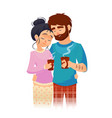 couple in love drinking morning coffee young man vector image