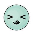 cute blue kawaii emoticon face vector image