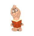 cute cartoon sloth character reading a book funny vector image vector image