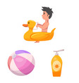 design of pool and swimming sign vector image