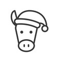 donkey wearing santa hat outline icon editable vector image vector image