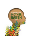 earth day card of papercut woman head with leaves vector image vector image