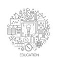 education in circle - concept line vector image vector image