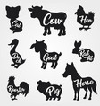farm animals silhouettes collection with text vector image vector image