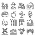 farm icons set on white background line style vector image vector image