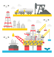 Flat design oil rig set vector image
