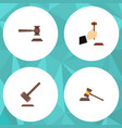 flat icon hammer set of tribunal law legal and vector image vector image