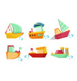 flat set marine vessels with adorable vector image vector image
