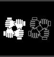 four hand holding together team work concept icon vector image vector image