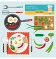 fresh breakfast food in flat vector image vector image