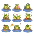 Frogs Sitting On The Stone Character Set vector image vector image