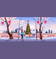 girl mother on christmas ice rink with fir tree vector image vector image
