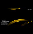 gold ribbon wave on a black background layout vector image vector image