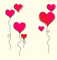 greeting card with flying balloons valentines day vector image
