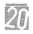 hand draw 20 anniversary square frame background v vector image