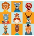 Hipster animals icons flat vector image vector image