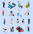 home staff isometric icons vector image