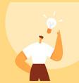 light bulb over man head business idea vector image