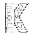 mechanical letter k engraving vector image vector image
