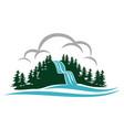 mountain waterfall logo design template vector image