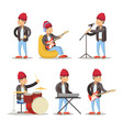 musicians cartoon man playing on guitar vector image vector image