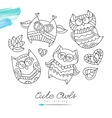 owls for coloring vector image
