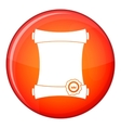 Paper scroll with wax seal icon flat style vector image vector image