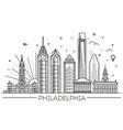 philadelphia pennsylvania usa skyline vector image vector image