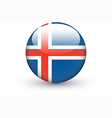 Round icon with national flag of Iceland vector image vector image