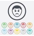 Sad face sign icon Sadness symbol vector image vector image