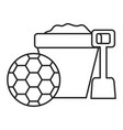 sand bucket with shovel and soccer balloon vector image