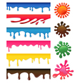 Seamless colored drips and blotches set vector image