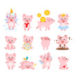 set of cute pink pig vector image vector image