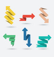 set of origami paper arrows vector image