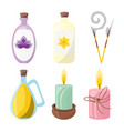 set spa products with candles and aromatic vector image vector image