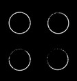 set white circles with grunge on black vector image