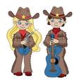sheriffs cowboy cartoon western music illus vector image