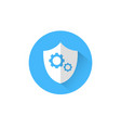 shield with cog wheel icon blue round on white vector image vector image