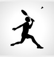 silhouette professional badminton player vector image vector image