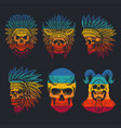 skull head collection retro vector image