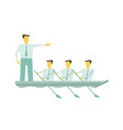 team boat together business teamwork leadership vector image vector image