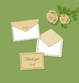 Thank you card and open and closed envelope