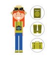 travelers vacation woman with camera hat and vector image vector image