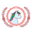 unicorn round pink icon vector image