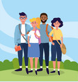 university people with casual clothes and bags vector image vector image