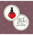 valentine card with dog on heart vector image vector image