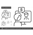 Video conference line icon vector image vector image