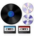 Vinyl record CD and cassette tape set vector image