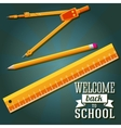 Welcome back to school greeting with ruler pencil vector image vector image